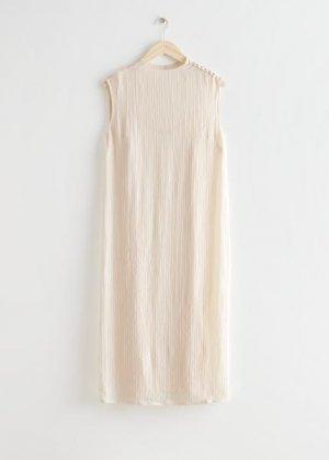 Миди-платье из жатой ткани с воротником-стойкой &Other Stories. Цвет: белый