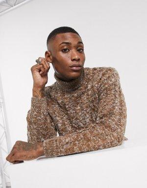 Коричневый oversized-свитер крупной вязки ASOS DESIGN