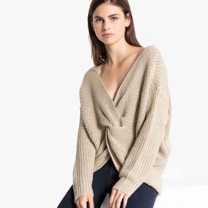 Пуловер покроя оверсайз с завязками сзади LPB WOMAN. Цвет: экрю