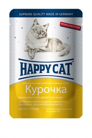 Паучи: курочка 0,1 кг 22 шт HAPPY CAT. Цвет: белый