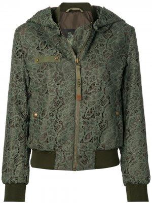 Куртка-бомбер с кружевными вставками Mr & Mrs Italy. Цвет: зеленый