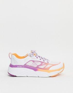 Белые с оранжевым кроссовки Max Cushioning Elite-Многоцветный Skechers