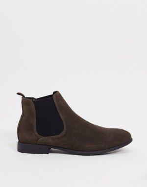 Замшевые ботинки челси коричневого цвета -Коричневый New Look