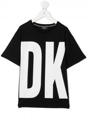 Футболка с логотипом Dkny Kids. Цвет: черный