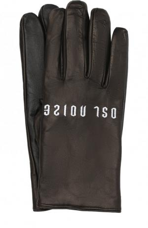 Кожаные перчатки с вышивкой Diesel. Цвет: черный