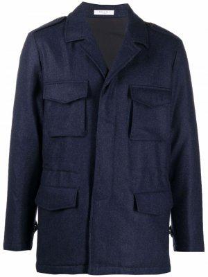 Шерстяная куртка с потайной застежкой Boglioli. Цвет: синий
