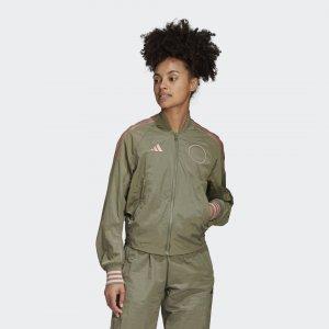 Куртка-бомбер VRCT Athletics adidas. Цвет: зеленый