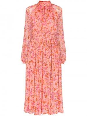 Платье миди с присборенной талией и цветочным принтом byTiMo