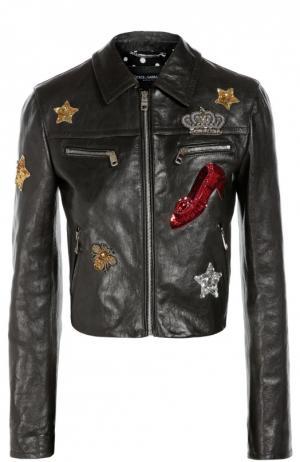 Кожаная куртка с отложным воротником и контрастной вышивкой Dolce & Gabbana. Цвет: черный