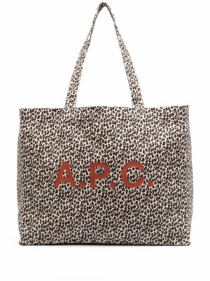 Сумка-тоут с леопардовым принтом A.P.C.. Цвет: белый