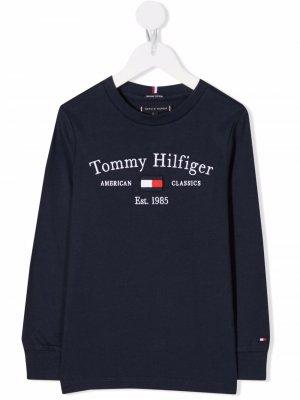 Logo-embroidered organic cotton sweatshirt Tommy Hilfiger Junior. Цвет: синий