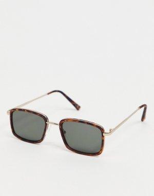 Квадратные солнцезащитные очки с узкой черепаховой оправой и дымчатыми стеклами -Коричневый цвет ASOS DESIGN