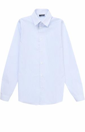 Хлопковая рубашка в мелкую полоску Dal Lago. Цвет: синий