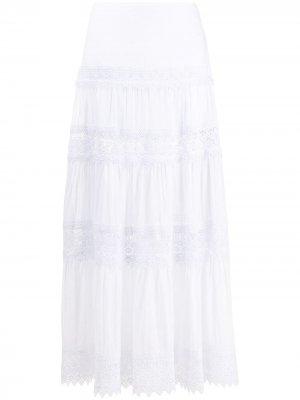 Пышная юбка с вышивкой Charo Ruiz Ibiza. Цвет: белый