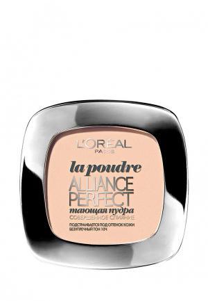 Пудра LOreal Paris L'Oreal Alliance Perfect, Совершенное слияние, выравнивающая и увлажняющая, оттенок R2, Ванильно-розовый, 9 г. Цвет: бежевый
