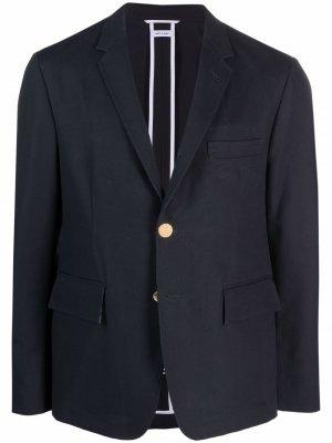 Однобортный пиджак строгого кроя Thom Browne. Цвет: синий