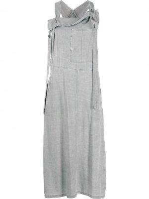 Ys платье-сарафан с драпировкой Y's. Цвет: серый