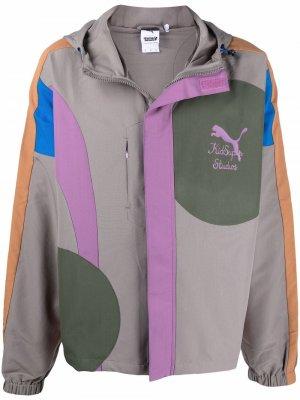 Куртка на молнии с логотипом PUMA. Цвет: серый
