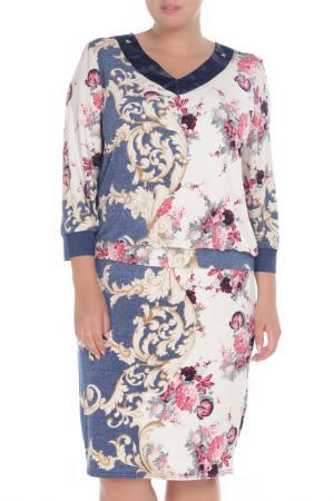 Платье Glamour. Цвет: темно-синий, кремовый