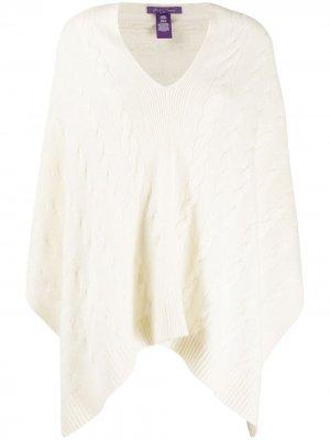 Кашемировое пончо фактурной вязки Ralph Lauren Collection. Цвет: нейтральные цвета