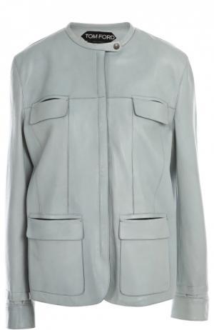 Кожаная куртка Tom Ford. Цвет: голубой