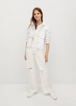 Джинсовая куртка с карманами - Blanqui Mango. Цвет: белый