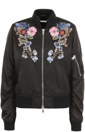 Бомбер на молнии с цветочной вышивкой Alexander McQueen. Цвет: черный