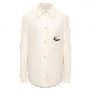Шелковая рубашка Lacoste. Цвет: бежевый