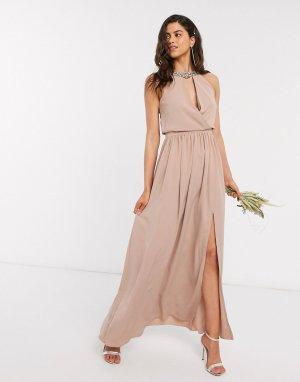 Бежевое платье макси с бретелью через шею и отделкой ручной работы Вridesmaid-Розовый цвет Little Mistress