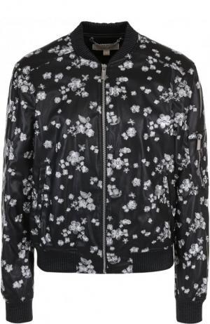 Кожаная куртка на молнии с декоративной отделкой MICHAEL Kors. Цвет: черный
