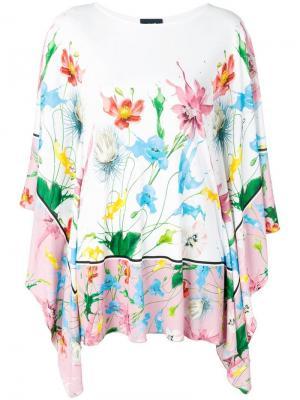Платье-туника с цветочным принтом Cavalli Class. Цвет: белый