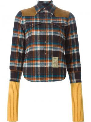 Куртка в клетку с кожаными панелями Dsquared2. Цвет: none