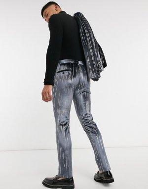 Серые бархатные костюмные брюки в серебристую полоску -Серый Twisted Tailor