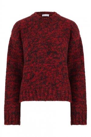 Меланжевый джемпер с вышивкой на спине Red Valentino. Цвет: бордовый