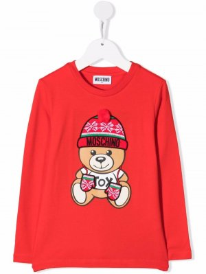 Intarsia bear-print T-shirt Moschino Kids. Цвет: красный