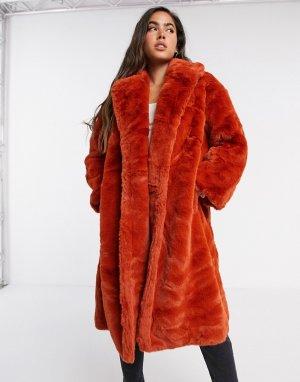 Красная длинная шуба из искусственного меха -Красный Jayley
