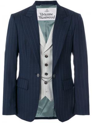 Полосатый пиджак со вшитым жилетом Vivienne Westwood. Цвет: синий