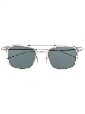 Солнцезащитные очки TB817 Iron Clubmaster Thom Browne Eyewear. Цвет: серебристый
