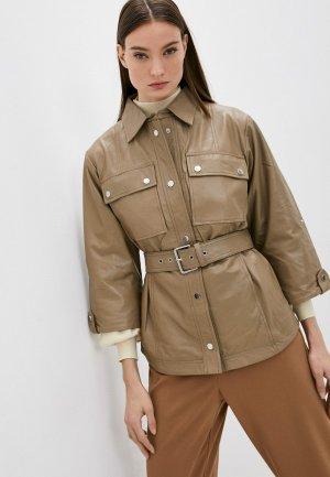 Куртка кожаная Снежная Королева. Цвет: хаки
