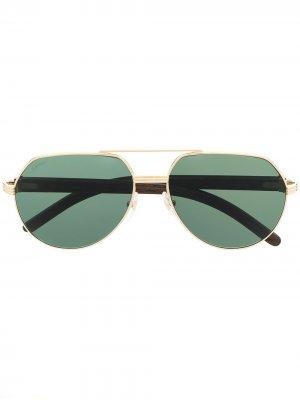 Солнцезащитные очки-авиаторы Cartier Eyewear. Цвет: коричневый