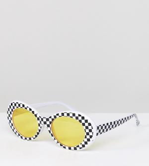 Белые солнцезащитные очки кошачий глаз с желтыми стеклами Inspired эксклюзивно для ASOS Reclaimed Vintage. Цвет: белый