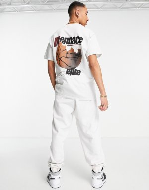 Серая oversized-футболка с баскетбольным принтом (от комплекта) -Серый Mennace