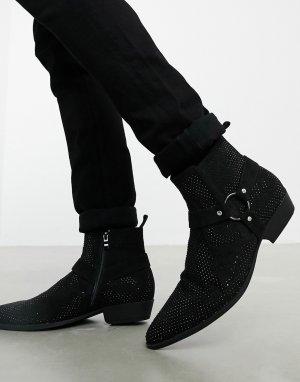 Черные ботинки челси в стиле вестерн на кубинском каблуке из искусственной замши с отделкой стразами -Черный ASOS DESIGN