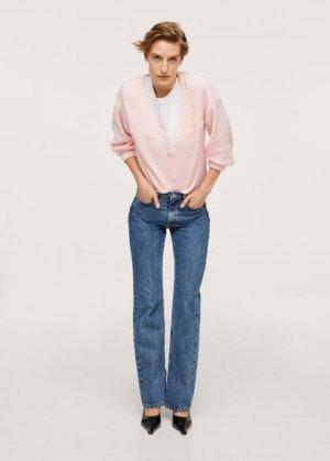 Вязаный кардиган с цветами - Estrella Mango. Цвет: пастельно-розовый