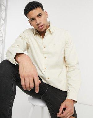 Рубашка из твила цвета экрю с длинными рукавами -Светло-бежевый Topman