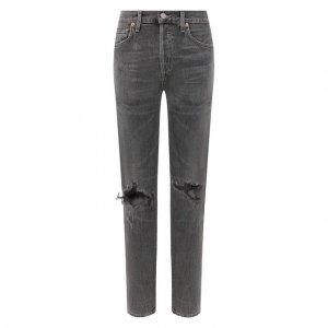 Укороченные джинсы прямого кроя с потертостями Citizens Of Humanity. Цвет: серый