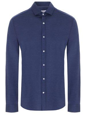 Рубашка Slim Fit из шелка и хлопка BRUNELLO CUCINELLI