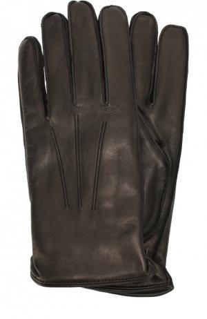 Кожаные перчатки с кашемировой подкладкой Dolce & Gabbana. Цвет: черный