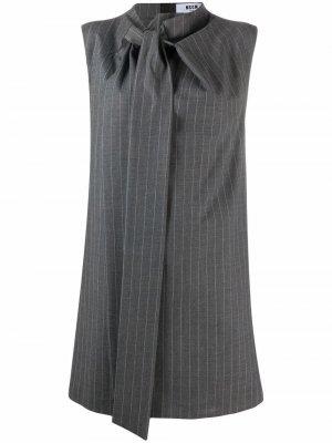 Платье-трапеция в тонкую полоску MSGM. Цвет: серый