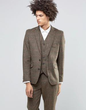 Пиджак в коричневую клетку из премиум-шерсти и кашемира Gianni Feraud. Цвет: коричневый